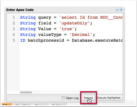 "In the window that pops up ""Enter Apex Code"" paste the following code without changes, and click the execute button"