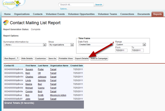 Create a report of the Contacts that you want to create Connections for