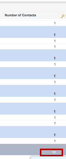 The number of contacts appears at the bottom of the report.