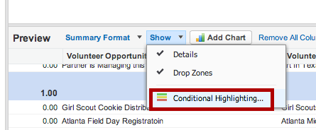 To add conditional Highlighting, use the show menu and select conditional highlighting.