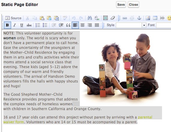 Open the WYSIWYG Editor after you have created the project description: