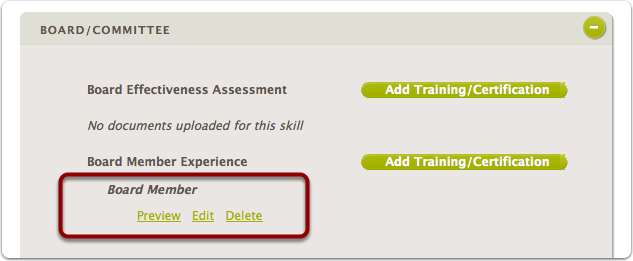 After a document has been uploaded - the volunteer can view, update, or delete it by looking at the specific skill