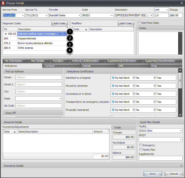 Edit charge and view diagnosis codes.