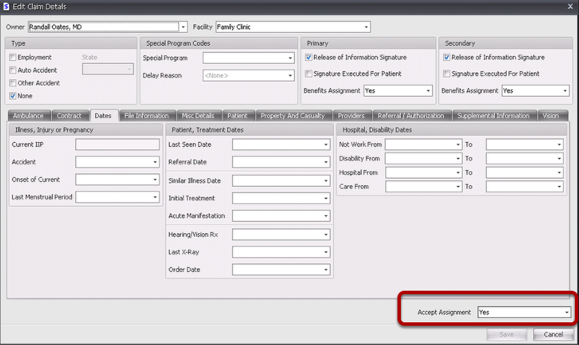 Edit the Accept Assignment indication