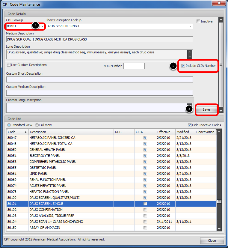 Select CPT Codes to Include CLIA Number