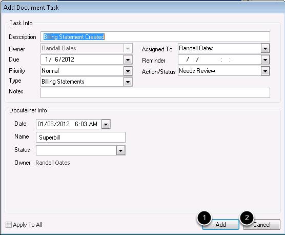 Optional: Add Document task for Superbill Creation