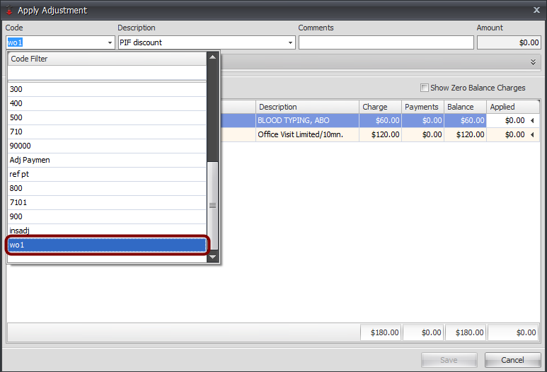 4. Select Adjustment Code