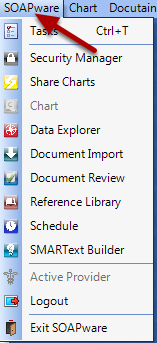To change which workspace you are working in, click on the SOAPware menu.
