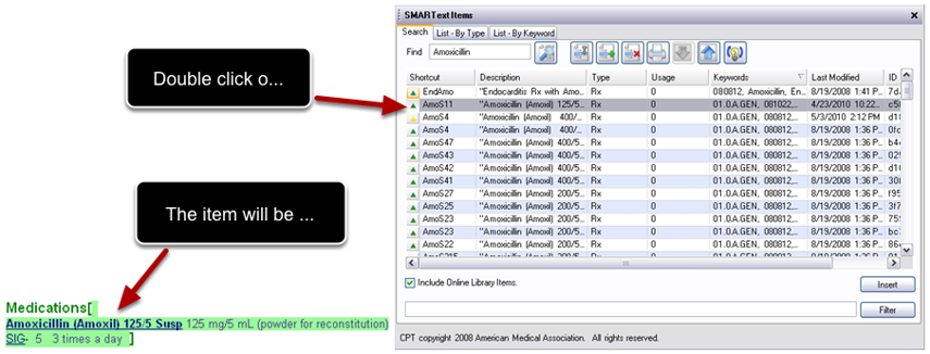 Inserting Items with SMARText Items Manager