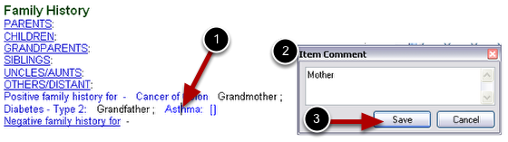 Attaching Item Comment to Family History