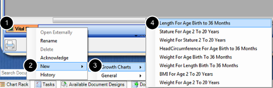 Accessing Growth Charts from Vital Signs