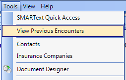 Open the View Previous Encounters Viewer