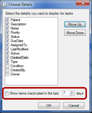 Show Inactive and Deleted Task Items
