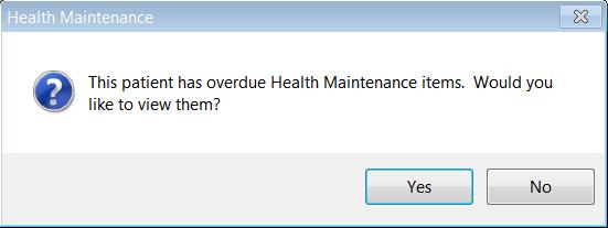Health Maintenance Alerts