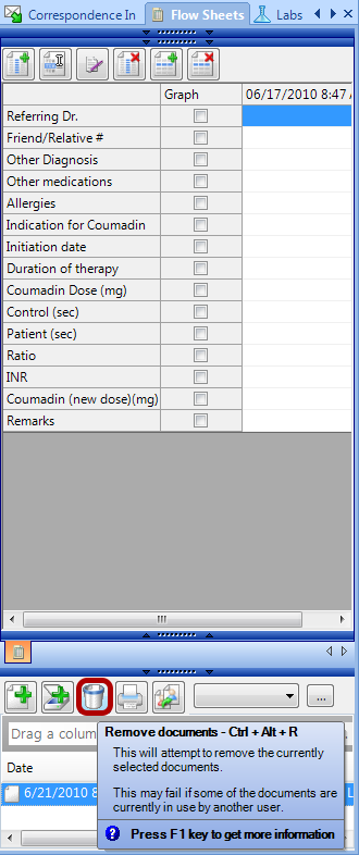 Removing a Flow Sheet from the Patient Chart