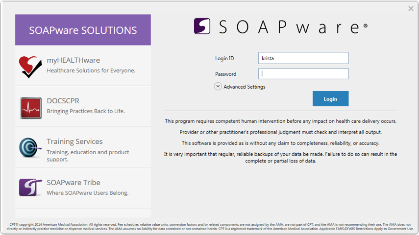 Log in to SOAPware