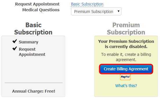 2. Create Billing Agreement for Premium Subscriptions