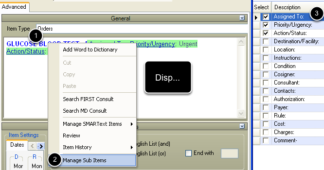 Selecting Sub-Items To Be Displayed In Order Entry SMARText Items