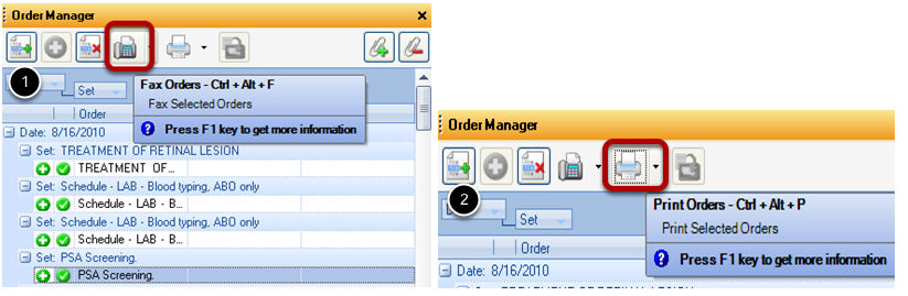 Faxing and Printing an Order