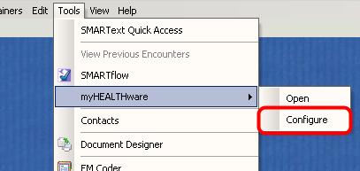 Open myHEALTHware Configuration