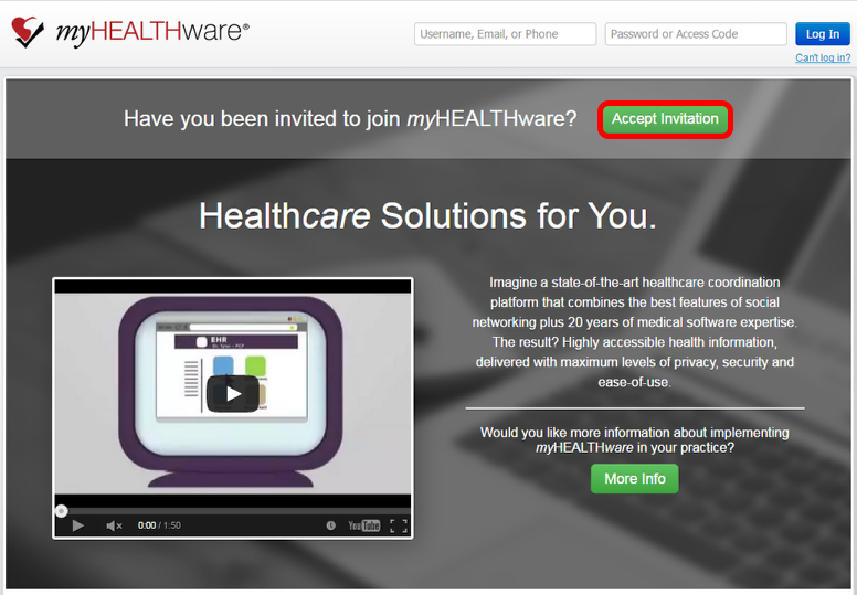 1. Instruct Clinician to Sign Up for a Free myHEALTHware Account
