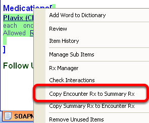 Transferring Active Medications from a SOAPnote Encounter