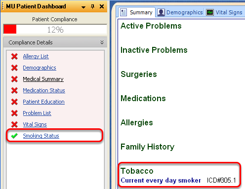 Smoking Status and MU Patient Dashboard