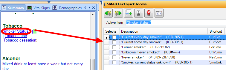 "Using ""SmoSta"" to Record Smoking Status"