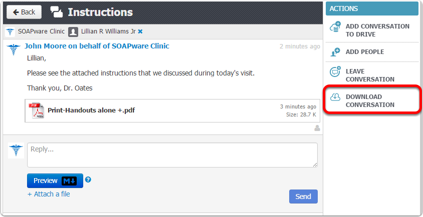 3. Download Conversation to Place in Chart