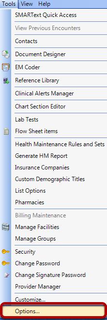 Tools -Options