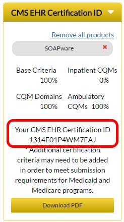 4. CMS EHR Certification ID
