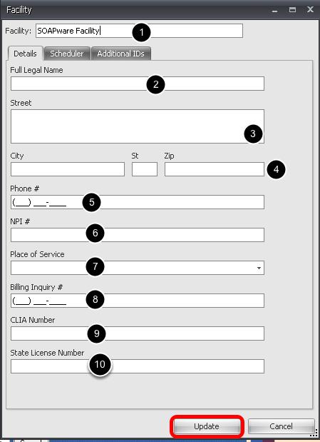 Facility - Details Tab
