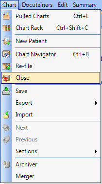 Closing Charts - Using the Menu Bar