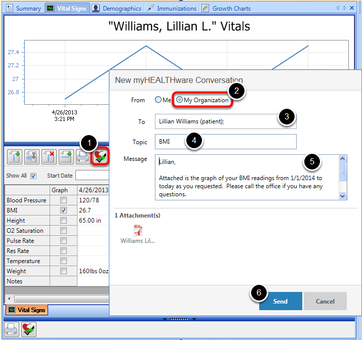 Send a Copy of the Graph to Patient in myHEALTHware