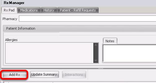Adding a Prescription in Rx Manager