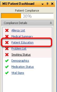 Select Handouts using the MU Patient Dashboard