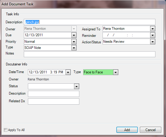 Scanned Docutainer-Add Document Task