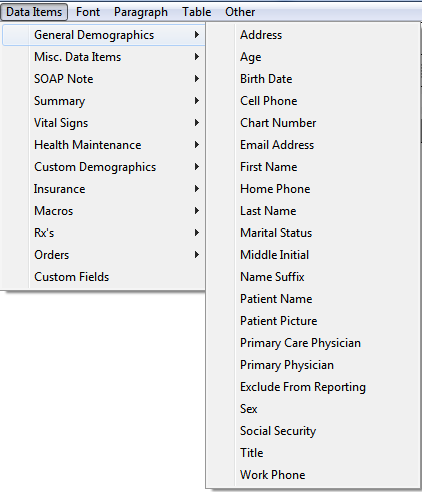 Data Items - General Demographics