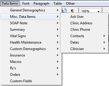 Miscellaneous Data Items