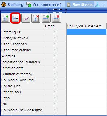Editing a Flow Sheet Reading Date or Column Header