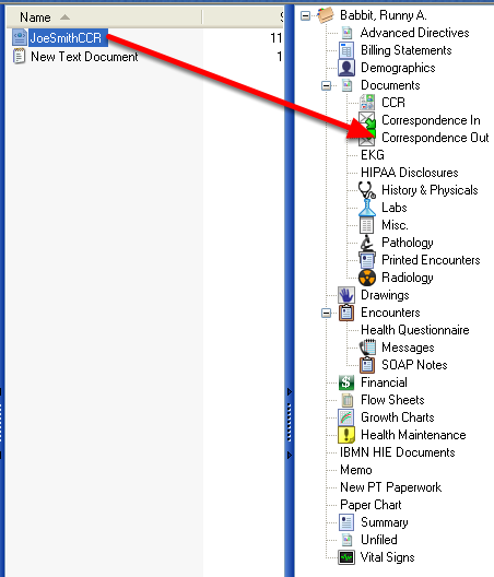 Placing the CCR/CCD Document in the Patient's Chart