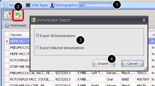 Step 5: Export the Immunization Record