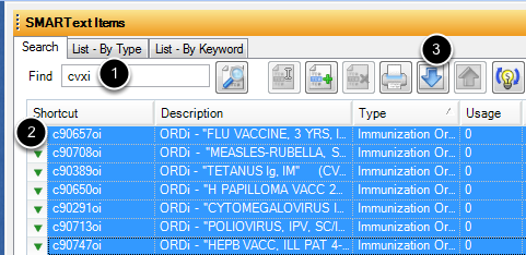 Searching for Immunization Items in SMARText
