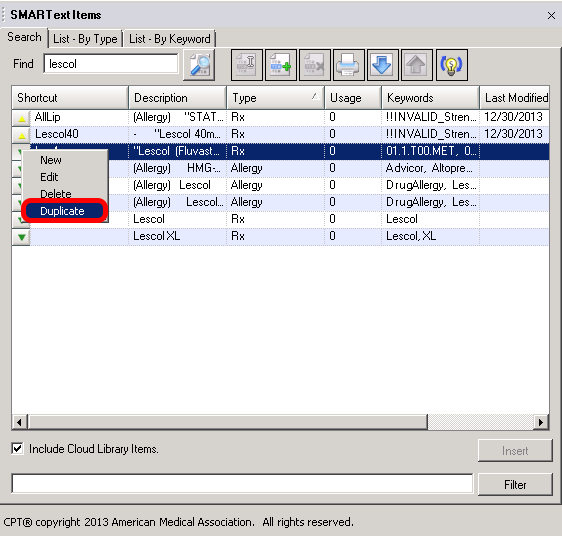 Duplicating the Item in the SMARText Items Manager