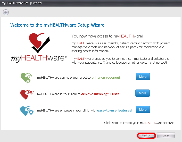 Welcome to the myHEALTHware Account Setup Wizard