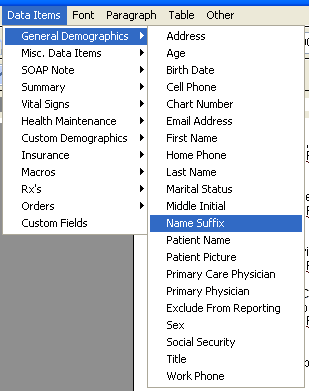 Document Designer Commands: Patient Name Suffix