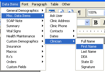 Document Designer Commands: Clinician First Name