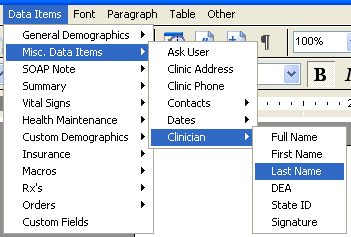 Document Designer Commands: Clinician Last Name