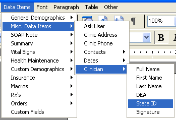 Document Designer Commands: Clinician State ID