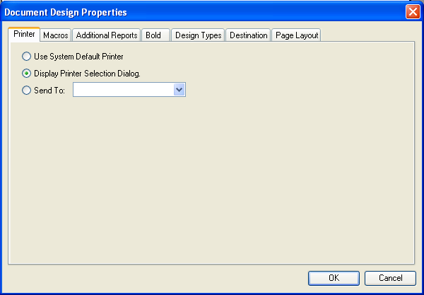 Document Designer Commands: Printer Dialog Options